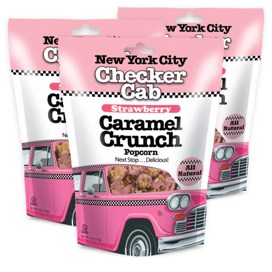 New York City Checker Cab Strawberry Caramel Crunch Popcorn - Sugar Plum Chocolates