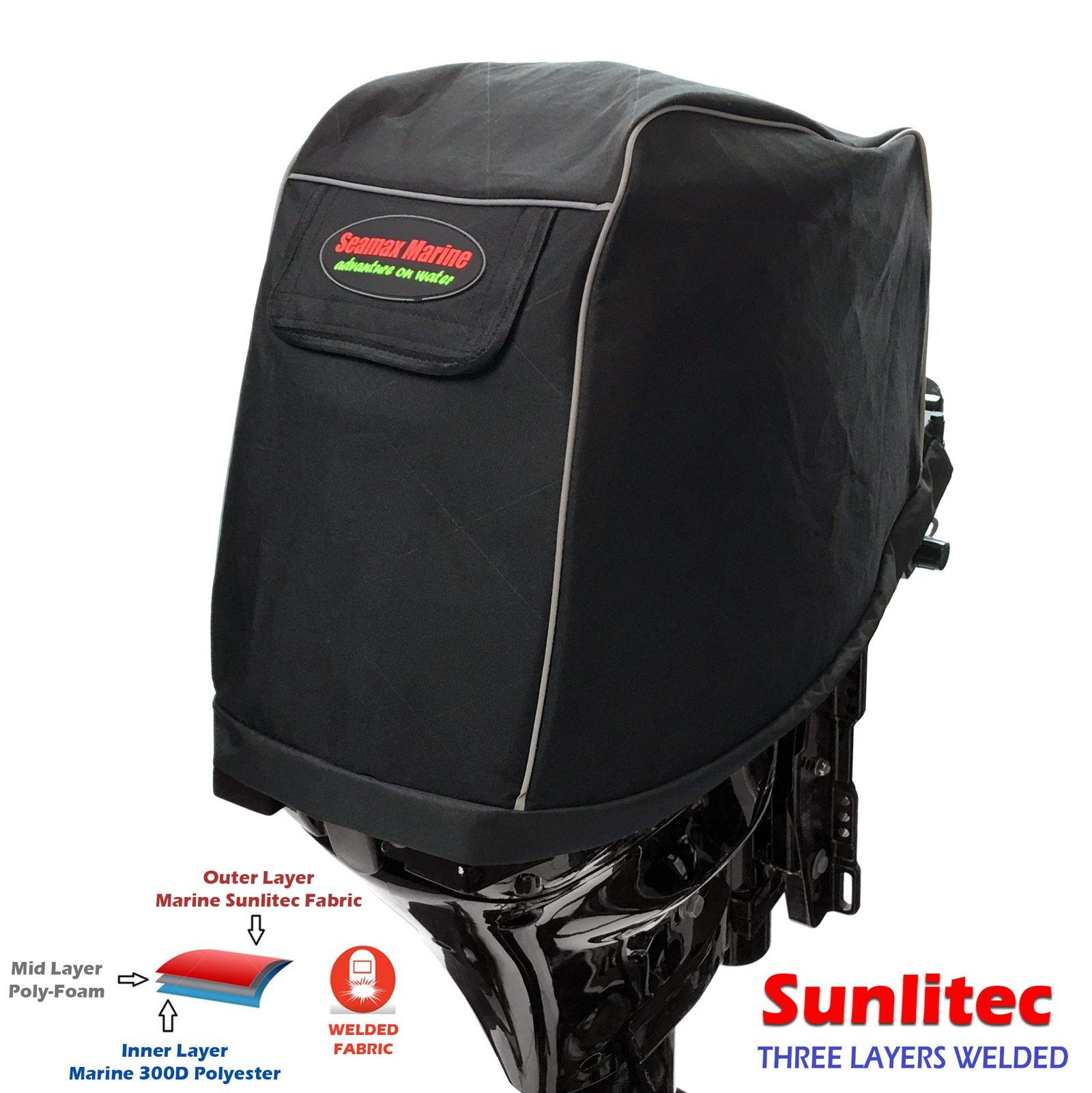 Universal Outboard Motor Cowling Cover with 3-Layers Welded Sunlitec Fabric  and Reflective Edges