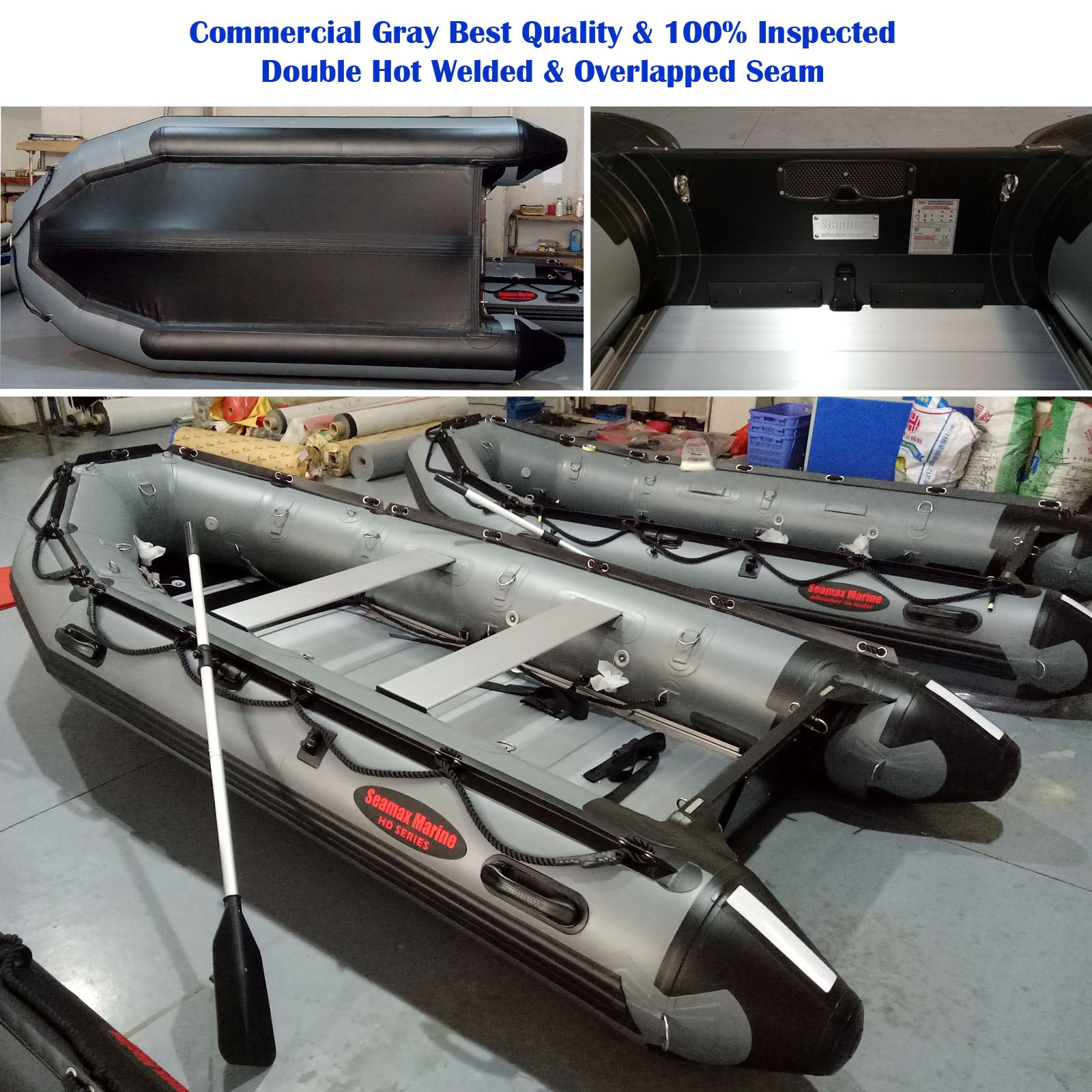 Seamax Ocean380T 12 5 Feet Commercial Grade Inflatable Boat, Max 7  Passengers and 25HP Rated