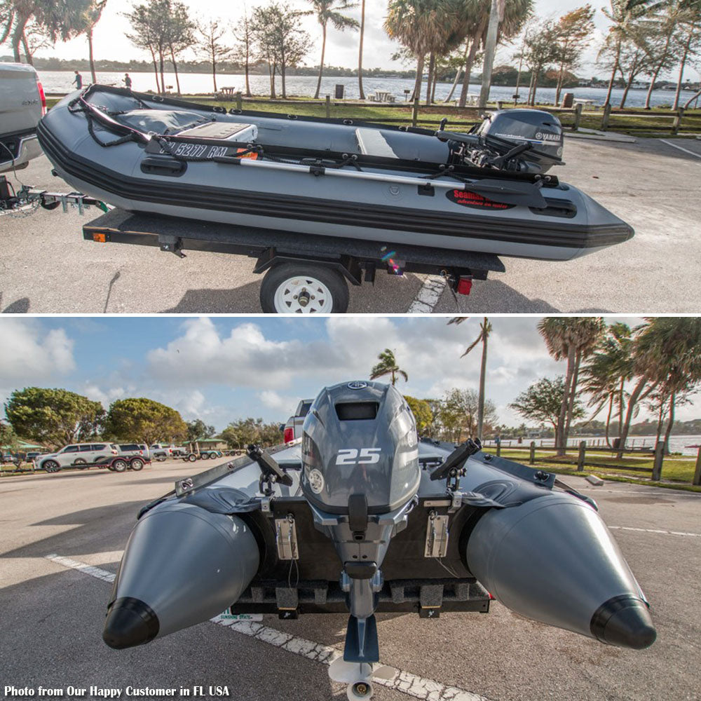 Seamax Ocean380 12 5 Feet Heavy Duty Inflatable Boat, Max 5 Passengers &  Rated 25HP