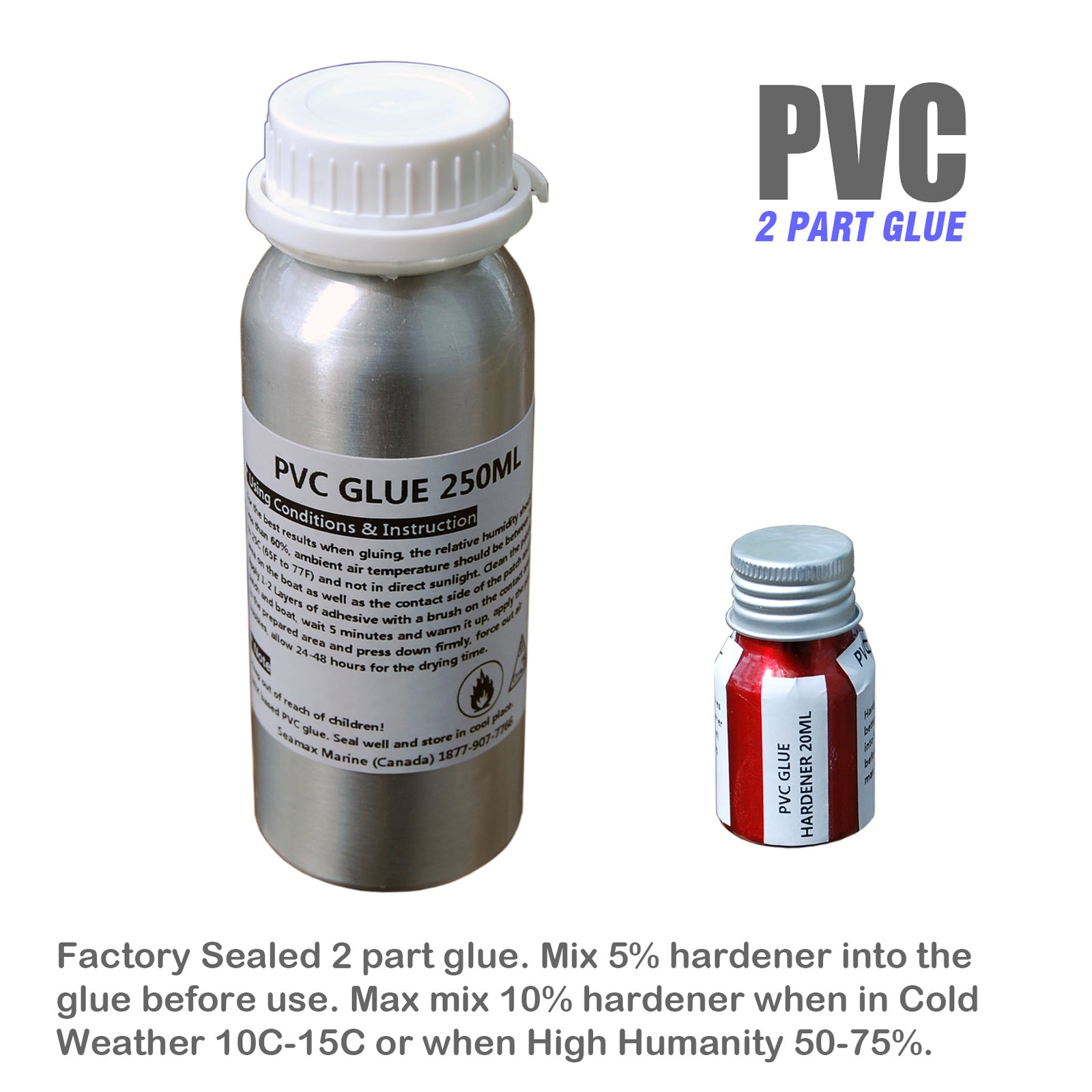 Marine Grade 250ml + 30ml 2 Parts Adhesive Kit for Inflatable Boats, Sealed  in Aluminum Bottles  PVC or Hypalon 2 Version Available