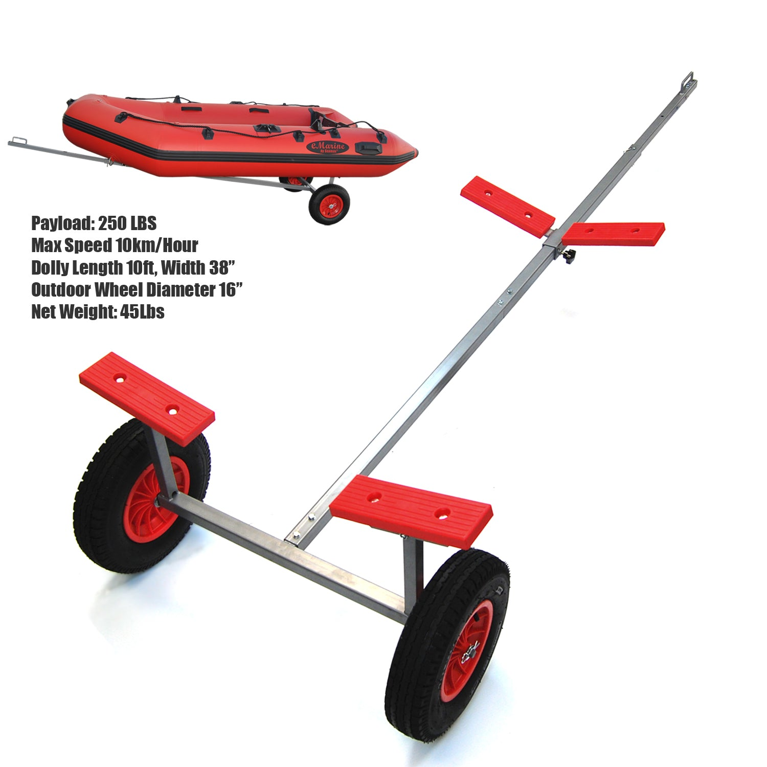 seamax portable boat carry launch hand dolly set with 16