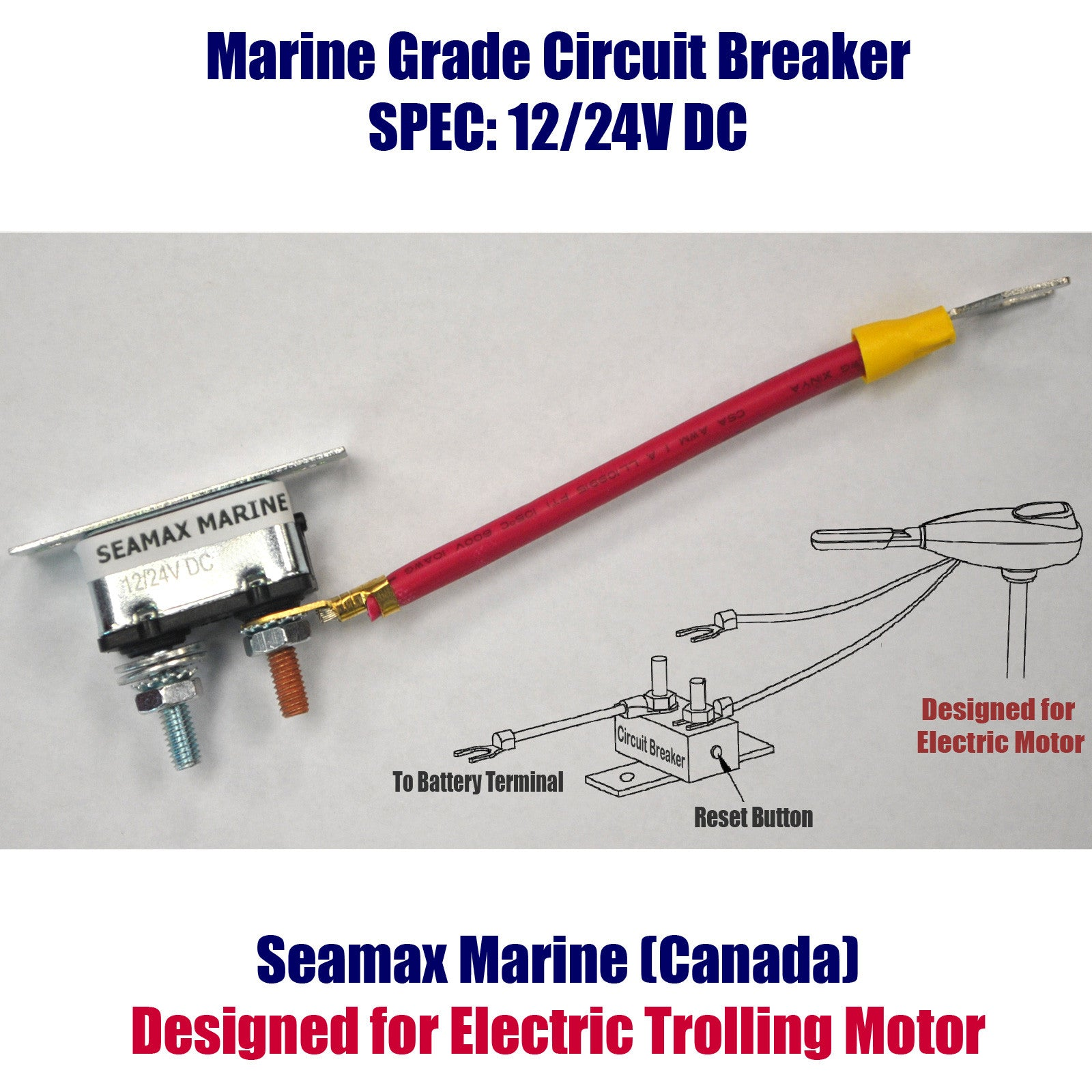 Seamax 12v Electric Trolling Motor Tiller Handle Marine How To Guide For The Power Circuit Of A Forward Reverse 62 Pound Thrust 40 Inch Shaft 8 Speeds
