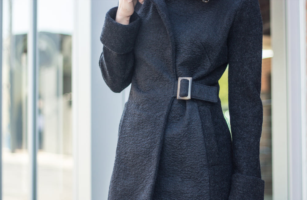 Black Alpaca cowl neck coat with buckle