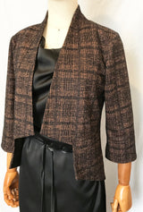 Short Angle Jacket in rust and black plaid by DeNovostyle