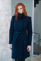 Navy wool winter coat by denovostyle