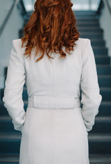 back of white cashmere coat