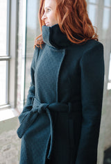 Black cotton basket weave coat