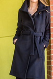 Black cashmere wool winter coat