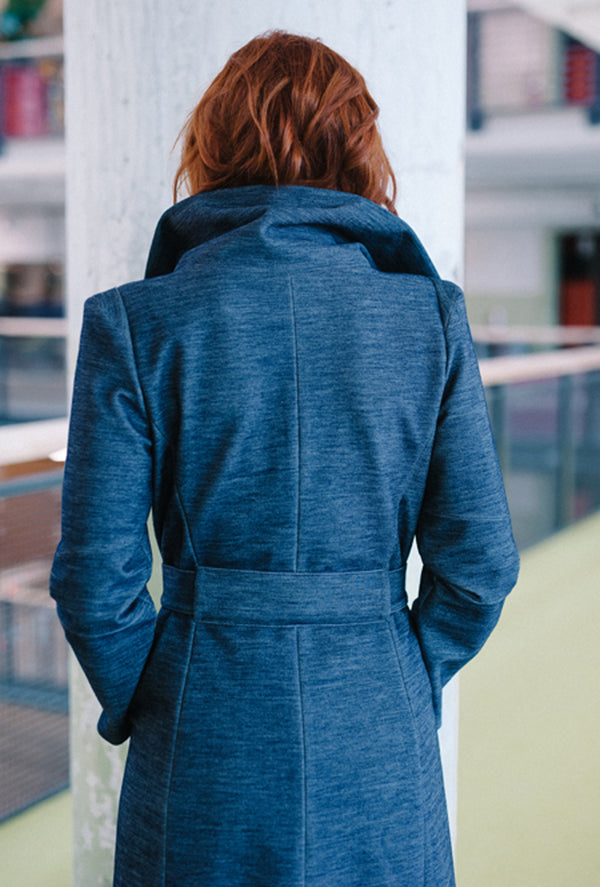 back of blue rain coat by denovo