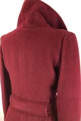 back of burgundy cashmere coat