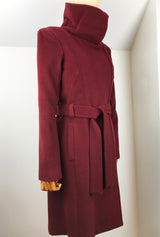 Burgundy cashmere winter coat