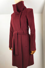 Burgundy women's cashmere coat