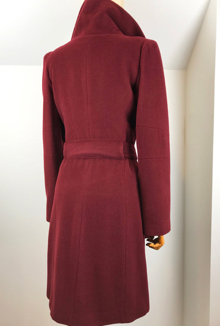 back of burgundy cashmere winter coat