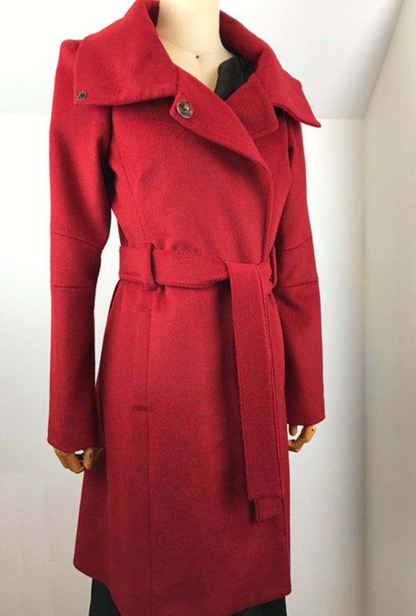 red cashmere winter coat by denovo