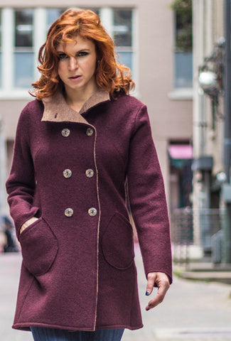 CAR COAT Bordeaux Merino
