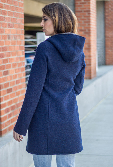 back of navy blue merino boiled wool coat