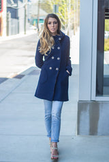 Navy blue merino pea coat
