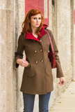Women's brown melange boiled wool coat