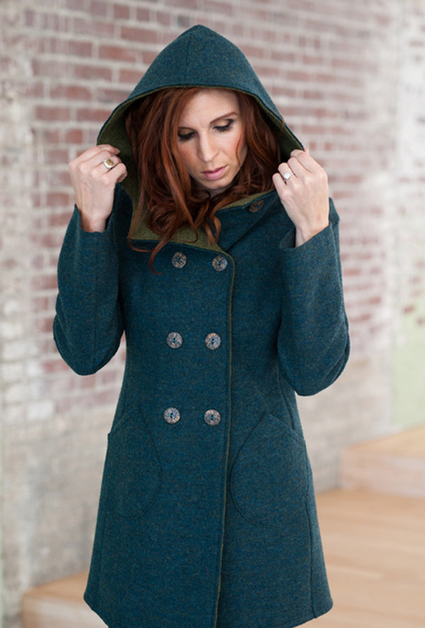 Teal blue merino wool coat trench