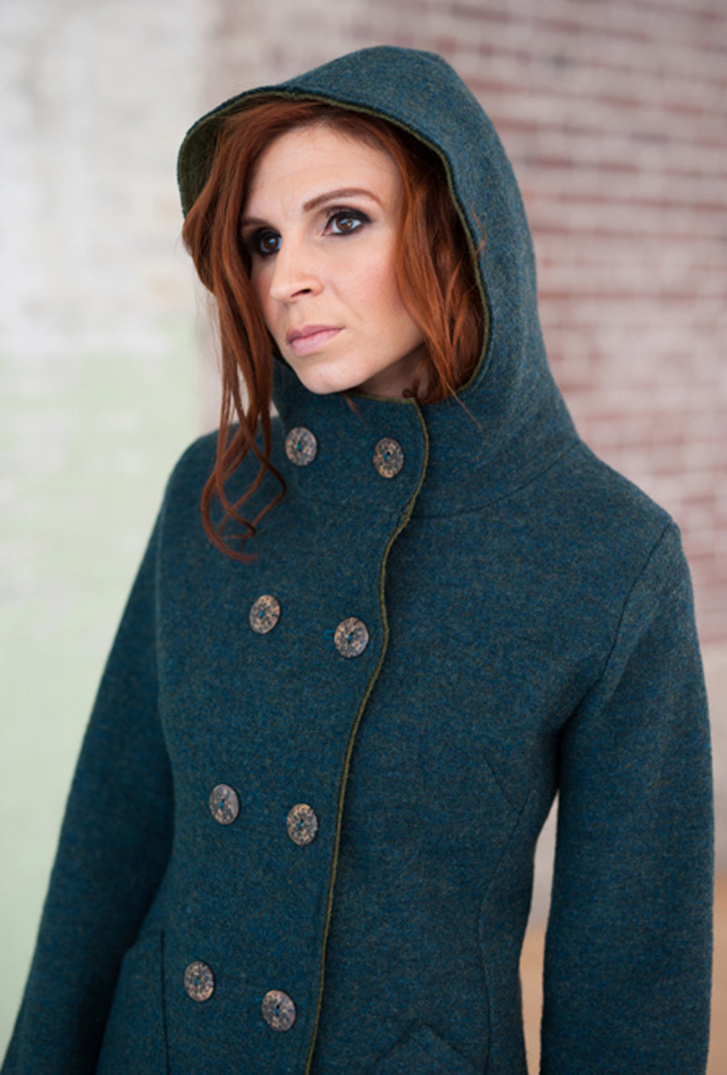 hooded blue green merino coat