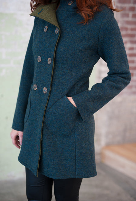 virgin merino women's blue green coat