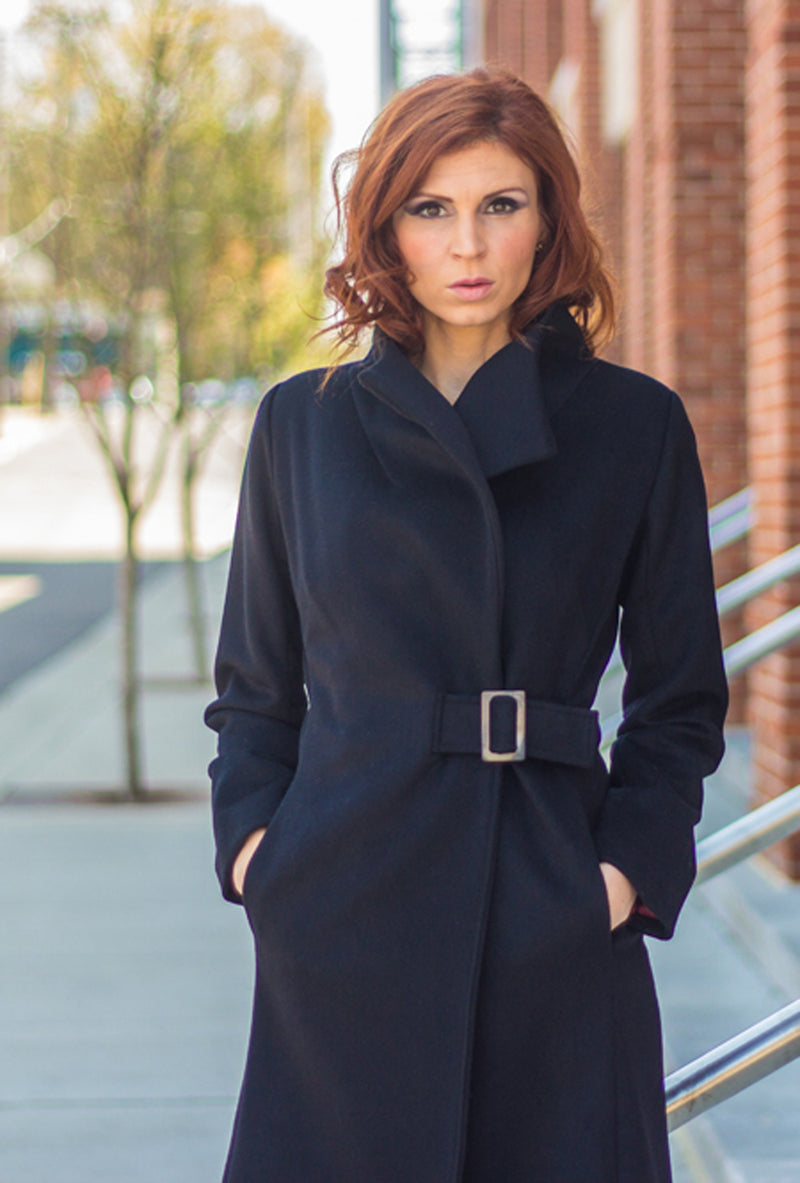 black cashmere wool coat with buckle