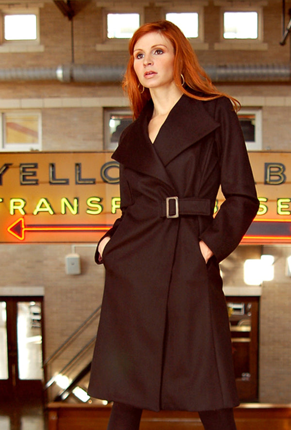 black cashmere wrap coat with buckle