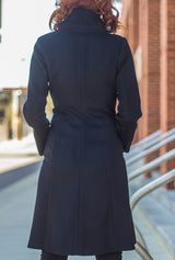 back of black cashmere women's winter coat