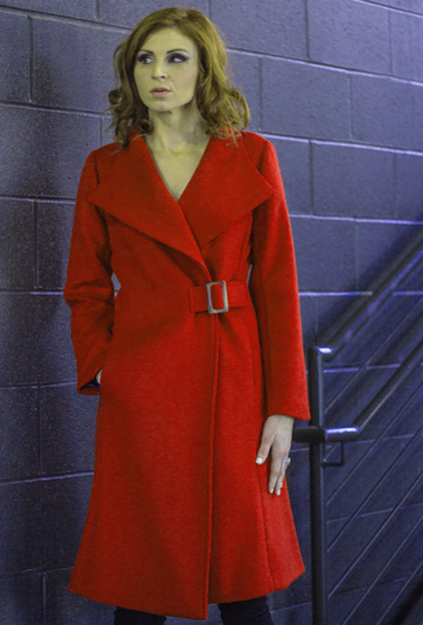 Scarlet red cashmere women's wrap coat with buckle
