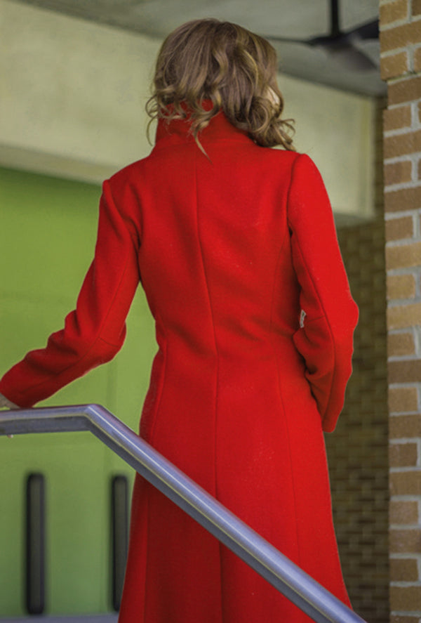 back of red cashmere coat