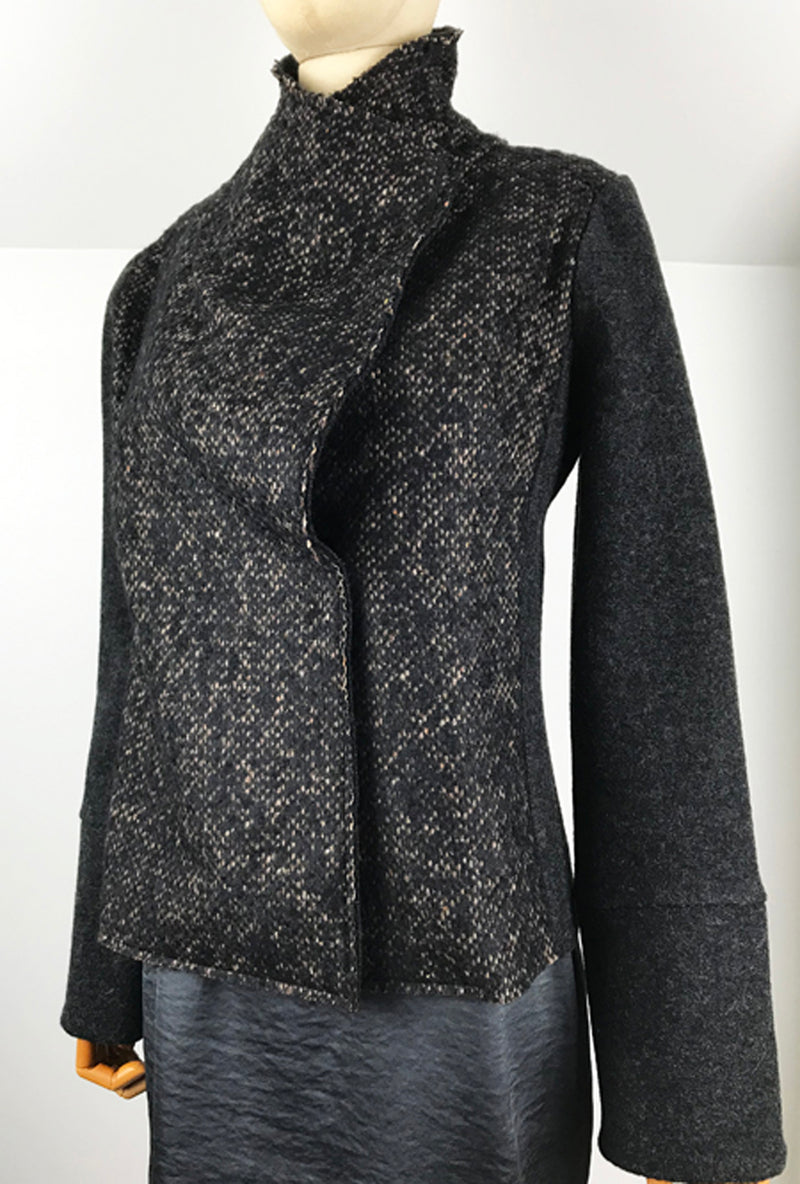 dark gray alpaca and merino short jacket