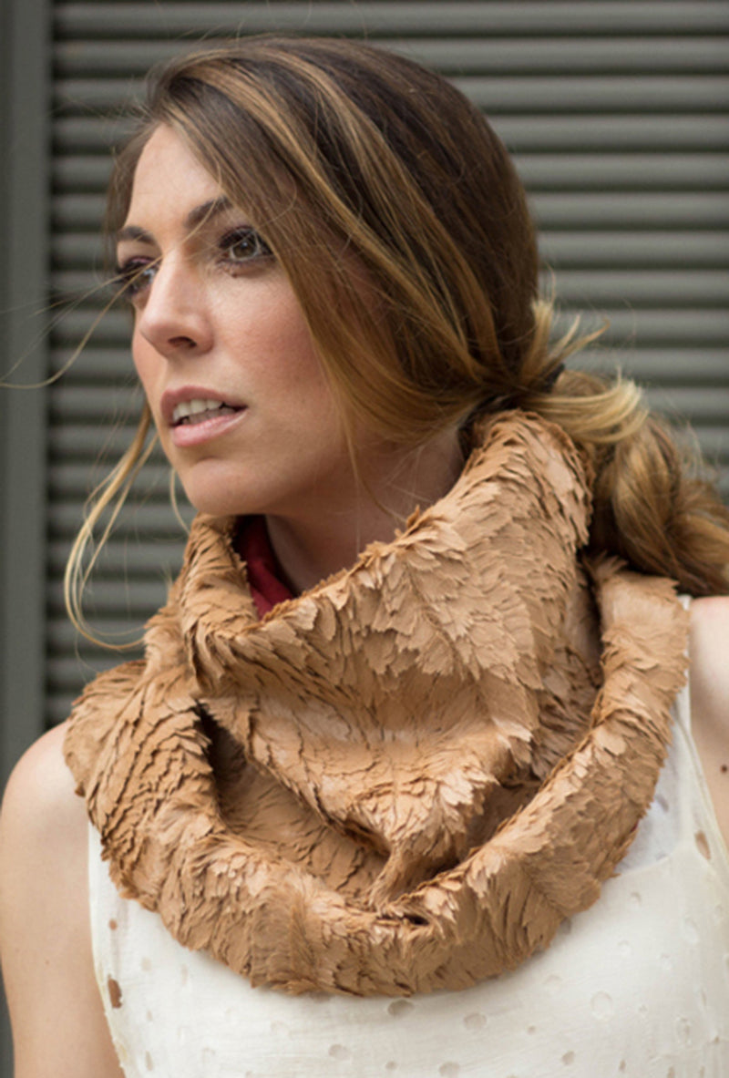 camel faux feather fur scarf