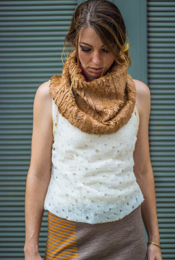 camel color feather faux fur neck wear