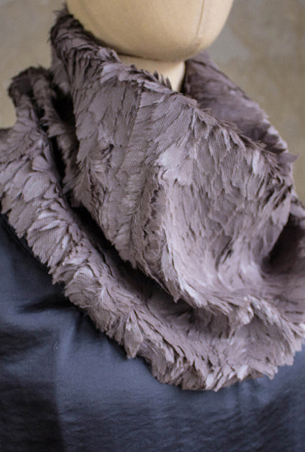 feather fur scarf in taupe gray