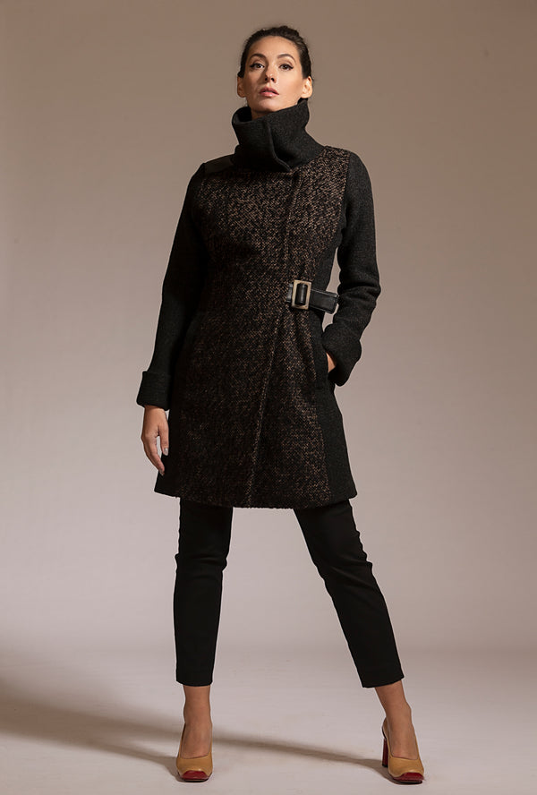 Alpaca and merino coat in dark gray brown with leather by denovo