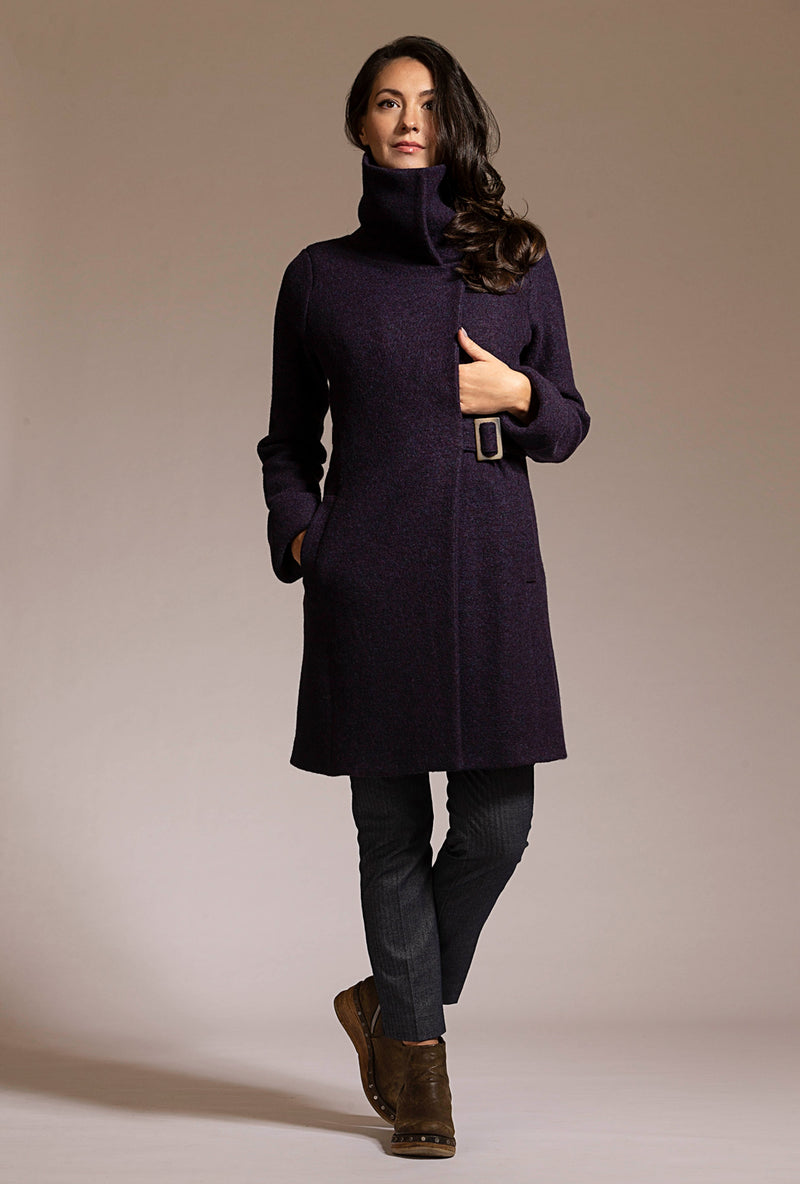 dark eggplant purple merino boiled wool coat by denovostyle
