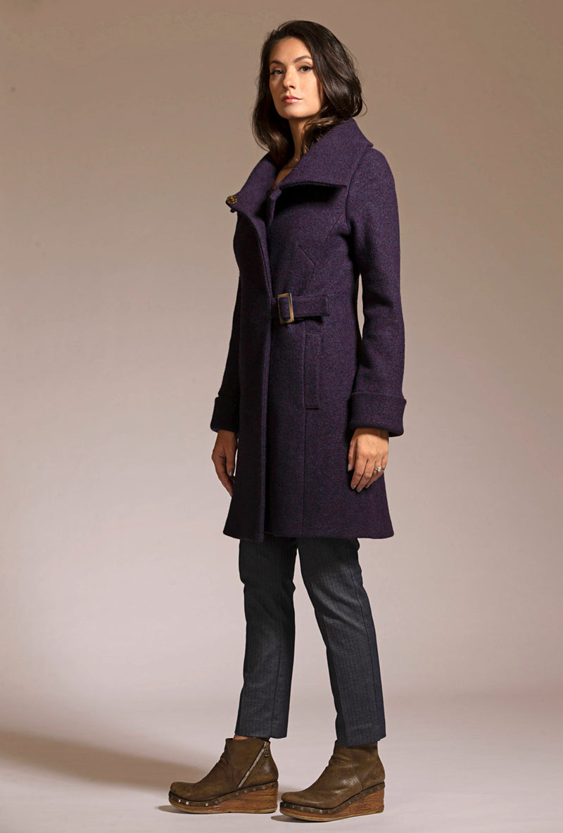 deep purple merino boiled wool coat by de novo