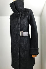 alpaca and merino dark gray women's coat