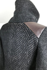 alpaca coat with leather trim
