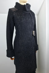black alpaca and merino women's coat