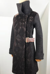 Alpaca and merino winter coat dark brown