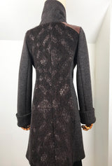 back of brown alpaca coat by denovo