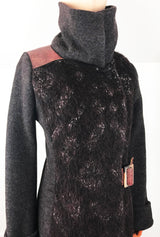 women's coat in alpaca and merino wool