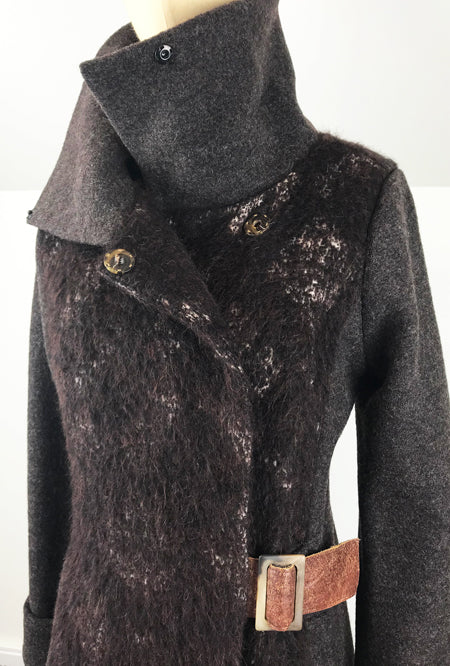 high collar coat in alpaca and merino by de novo