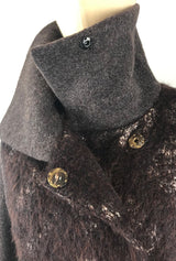 brown alpaca and merino women's coat