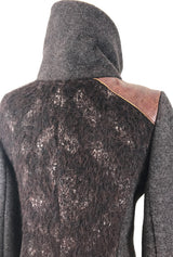 high collar coat in brown alpaca and merino by de novo