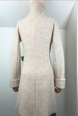 back of white merino wool coat