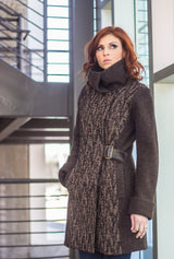COWL NECK COAT Twig Wool