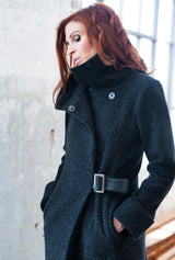 dark gray virgin wool women's winter coat